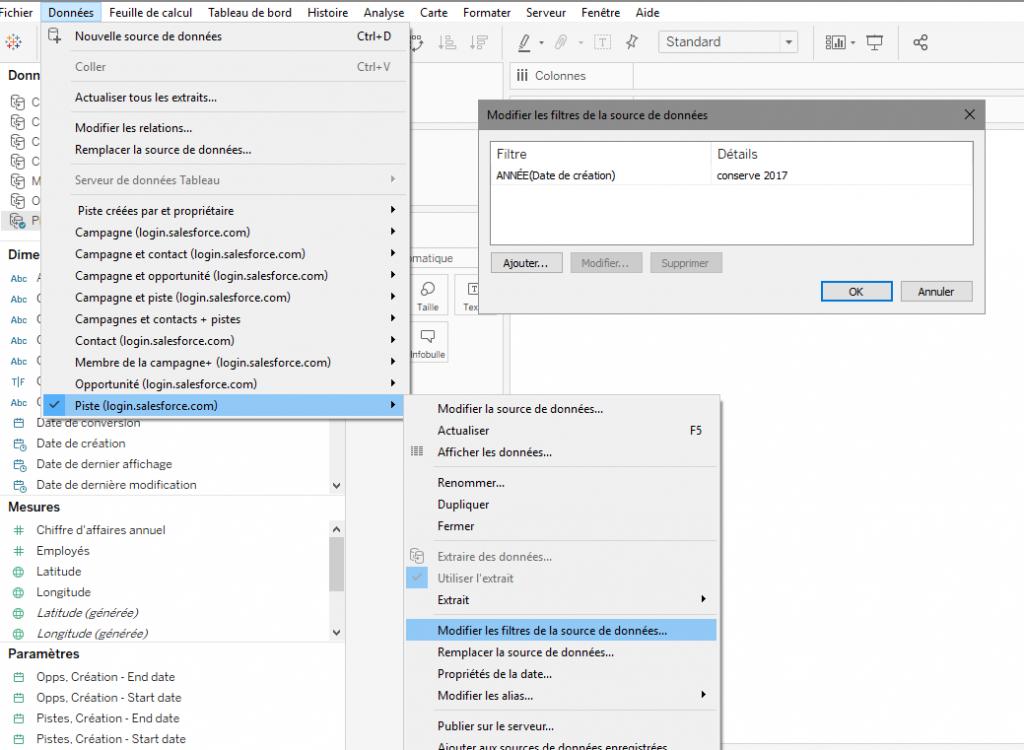 Appliquer des filtres aux données sélectionnées dans Tableau Software