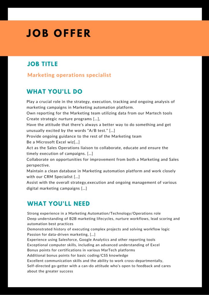 Offre d'emploi en anglais pour un poste de specialiste marketing ops