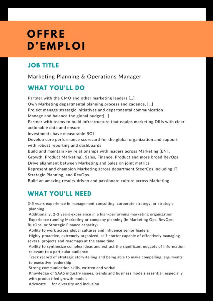 Offre d'emploi en anglais pour un poste de Marketing planning et operations manager